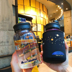 Starry Sky Glass Water Bottle With Protective Bag