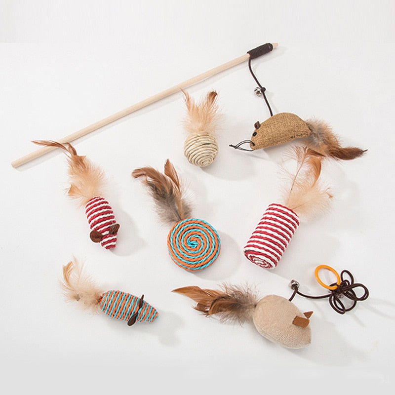 Funny Cat Hemp Rope Feather Toy Set
