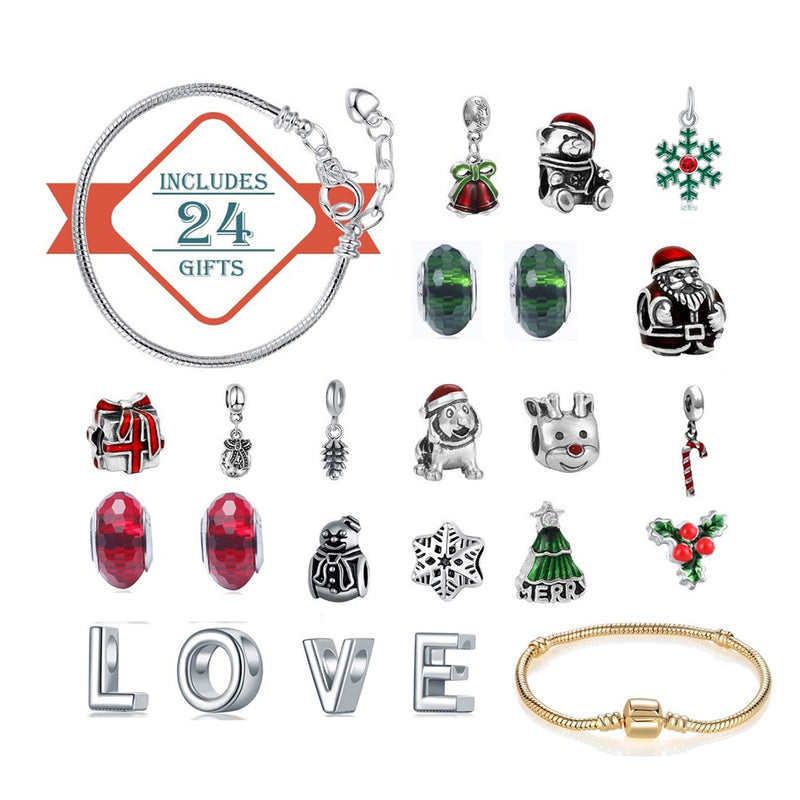 Snowman Advent Calendar with DIY Charms Bracelets