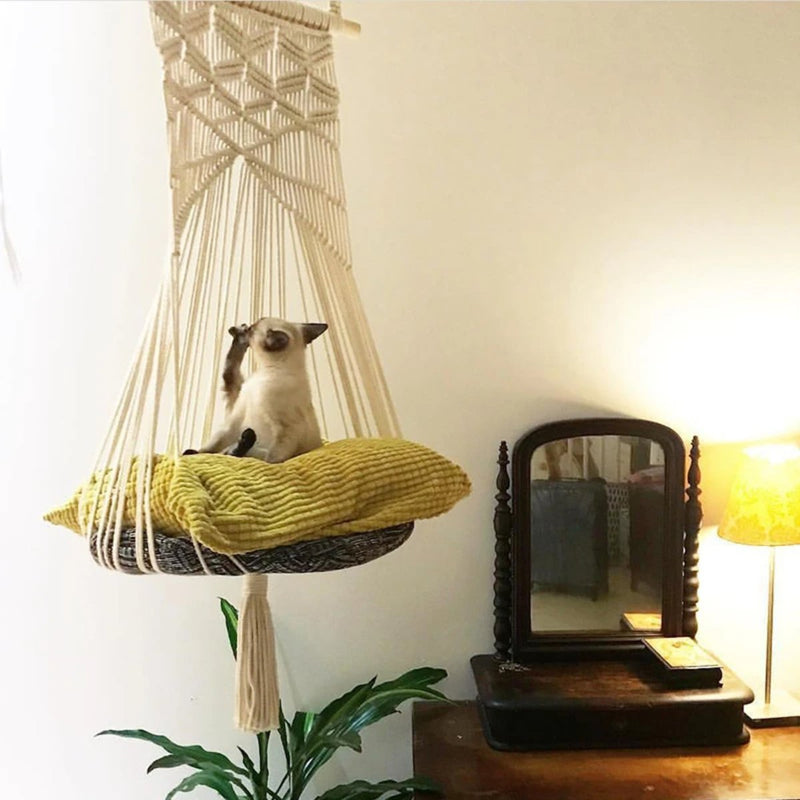 Boho Macrame Cat Swing Bed
