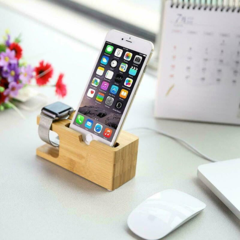 2-in 1 iCharge Bamboo Charging Stand