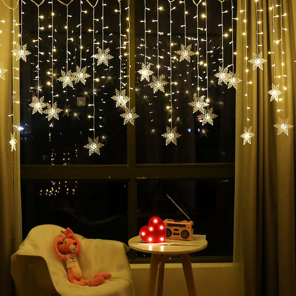 Curtain Snowflake LED String Lights