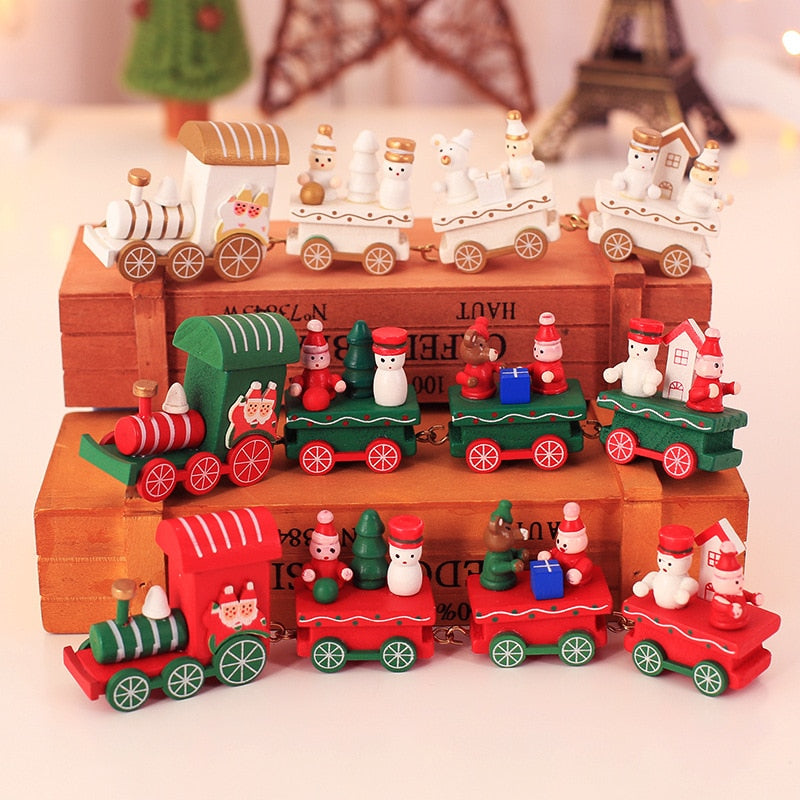 Feliz Xmas Wooden Train Ornament