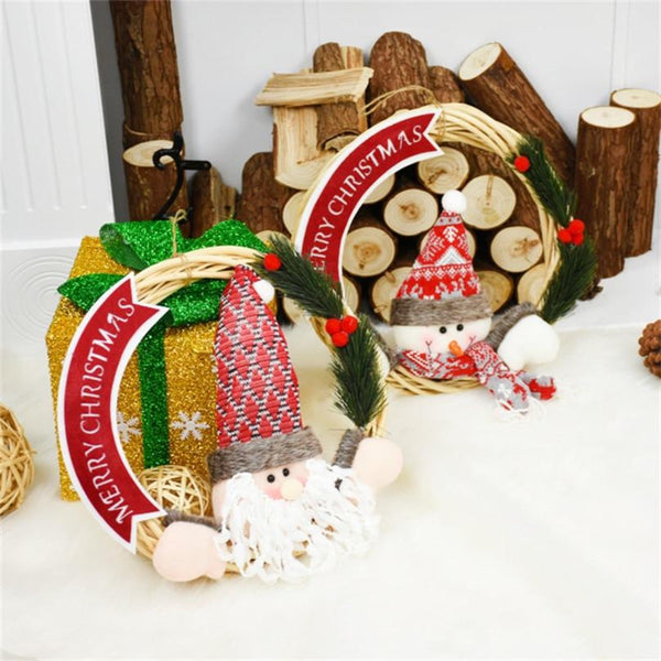 Cute Xmas Santa & Snowman Wreath