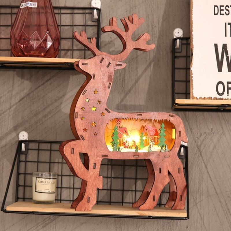 Xmas Reindeer Wooden LED Ornaments