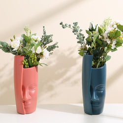 Abstract Face Sculpture Flower Vases