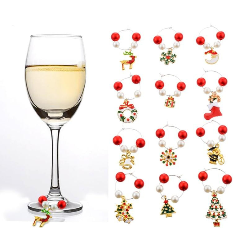 Tinkle Christmas Wine Glass Charms (12PCs)