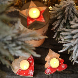 Lovely Christmas Wooden Candle Holder