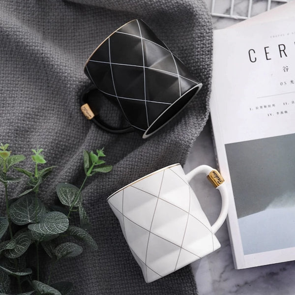 Nordic Grid Geometry Coffee Mug - LEMI Décor