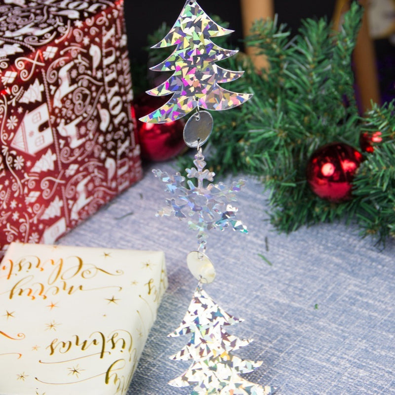 Glitter Silver Christmas Hanging Garlands