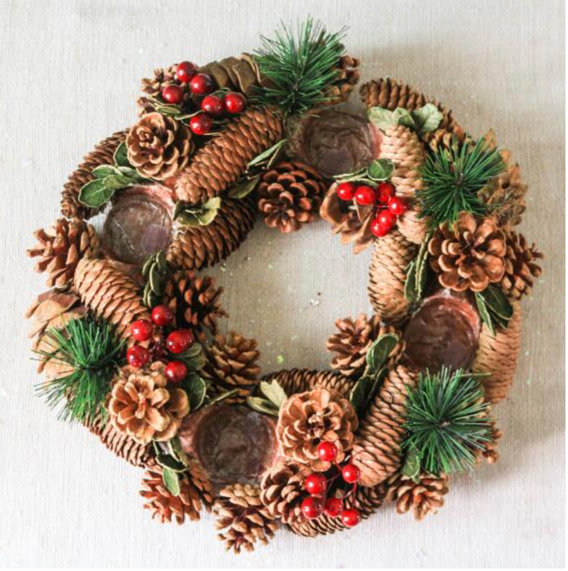 Christmas Wreath Candle Holders - LEMI Décor