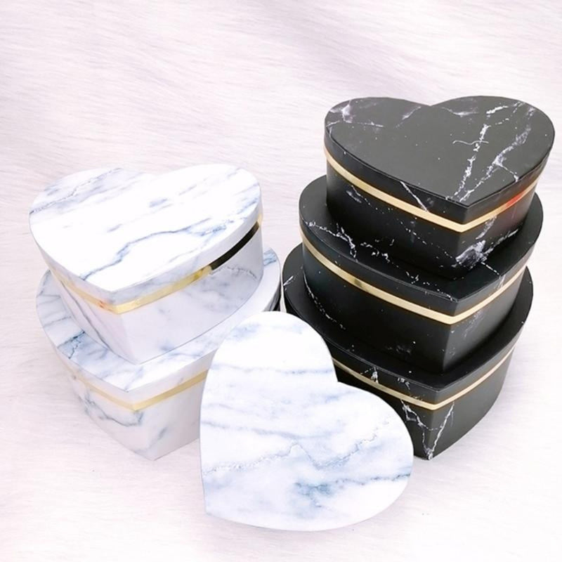 3Pcs Marble Heart Gift Box Set