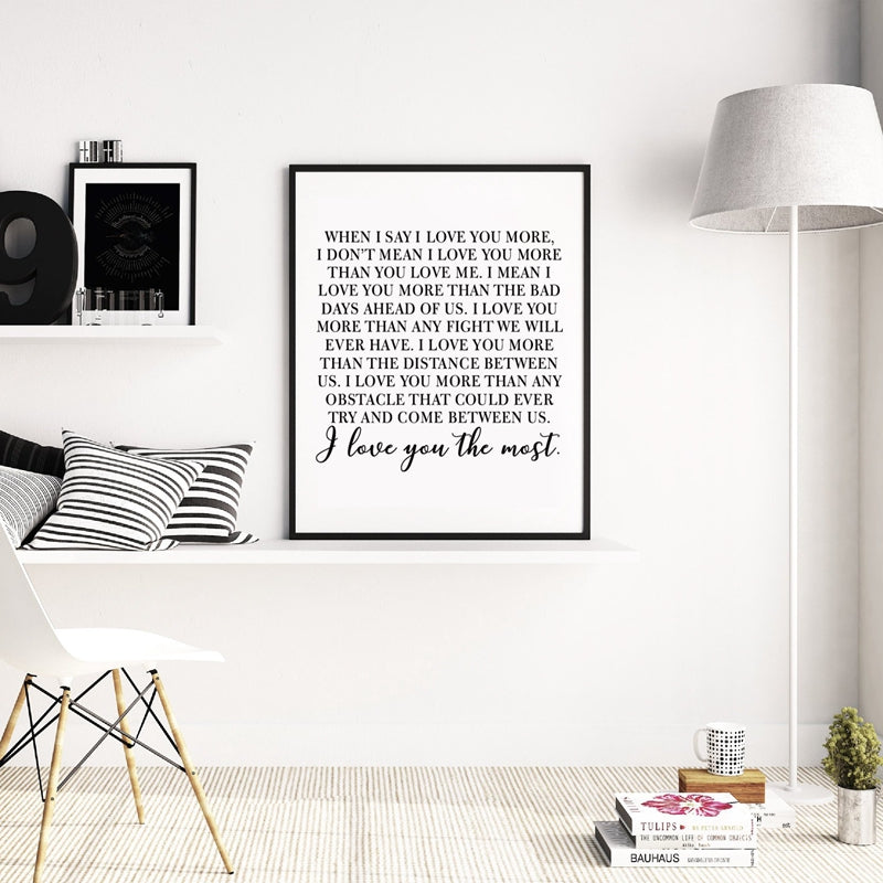 I Love You The Most Canvas Print