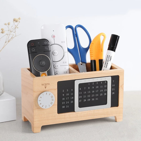 2-in-1 Wooden Desktop Organizer & Calendar
