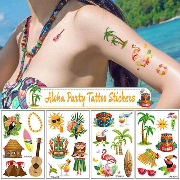 10PCS/Set Aloha Party Tattoo Stickers