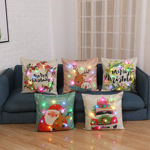 LED Light Christmas Cartoon Pillow Case - LEMI Décor