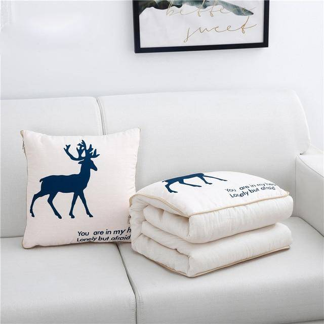 2-In-1 Xmas Reindeer Pillow & Blanket