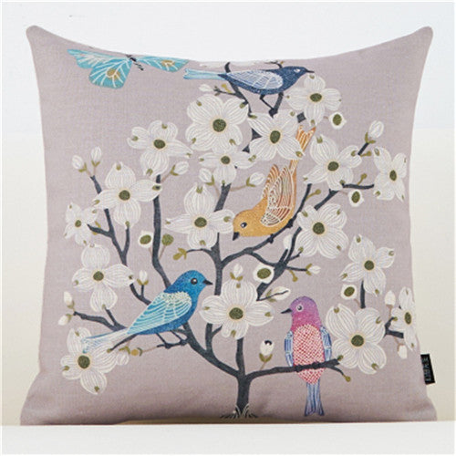 Bird & Flowers Nordic Cushion Cover