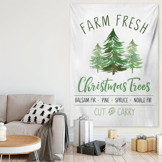 Farm Fresh Xmas Tree Wall Tapestry