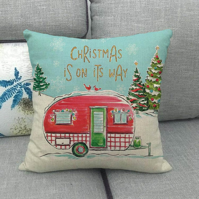 Xmas Tree & Red Truck Linen Pillow Covers