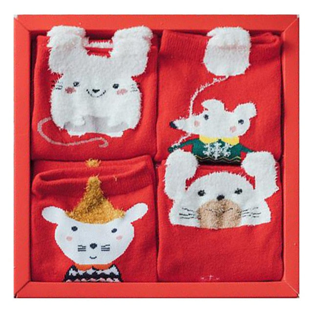 Cute Cartoon Xmas Socks with Gift Box