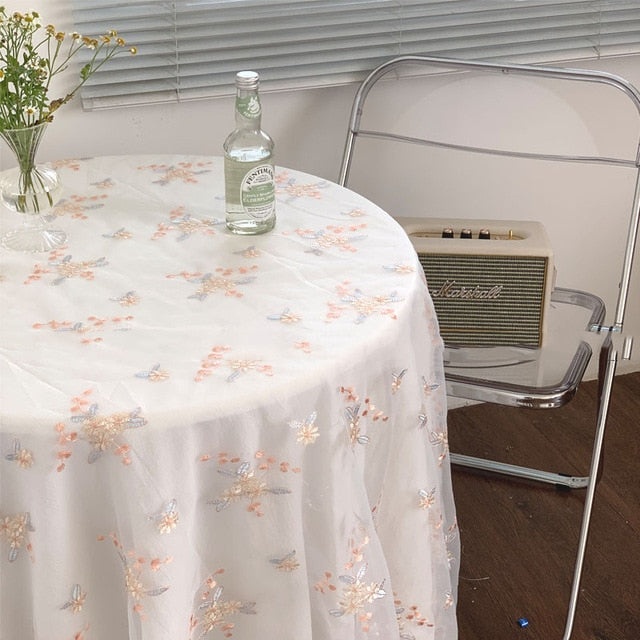 Vintage Floral Embroidery Tablecloth