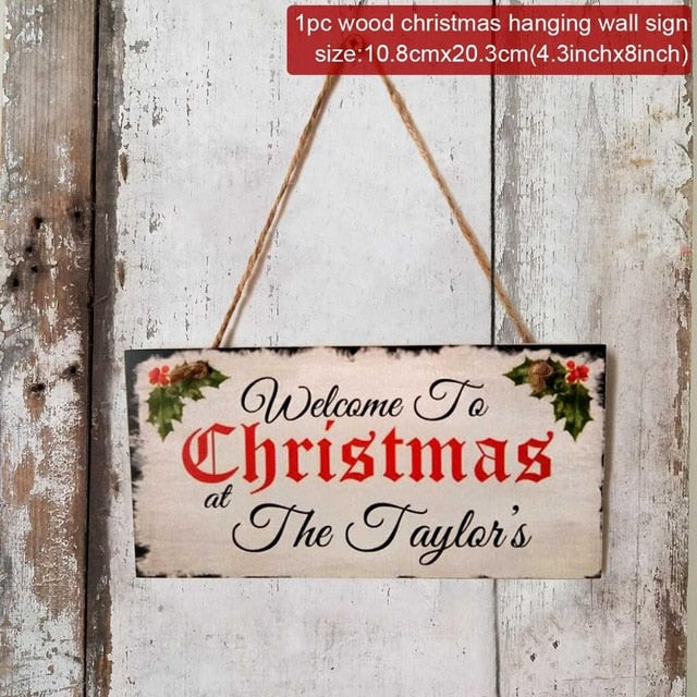 Warm Christmas Wooden Door Sign