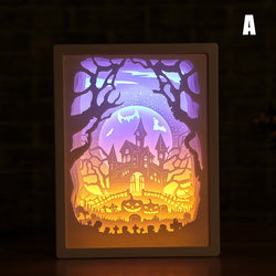 Art 3D Paper Carving LED Light