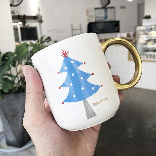 Christmas Tree Ceramics Coffee Mugs