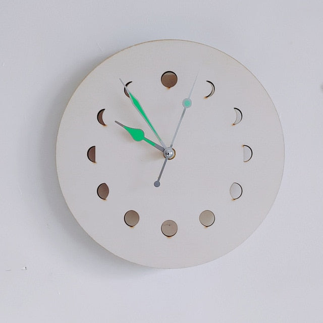 Boho Moon Phase Glowing Wall Clock