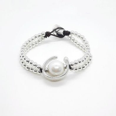 Doppel reihiges Armband mit weisser Perle - Amor Armband KOOMPLIMENTS