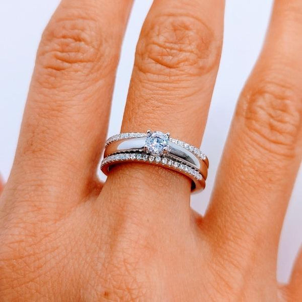Eleganter Ring 925 Sterlingsilber mit Zirkonia - 2 in 1 Ringe KOOMPLIMENTS