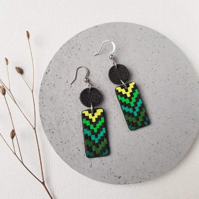 Statement earrings, Green polymer clay jewelry KOOMPLIMENTS