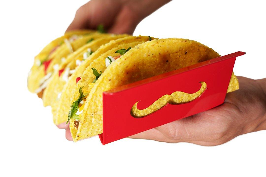 Señor Mustache Red Taco Holder