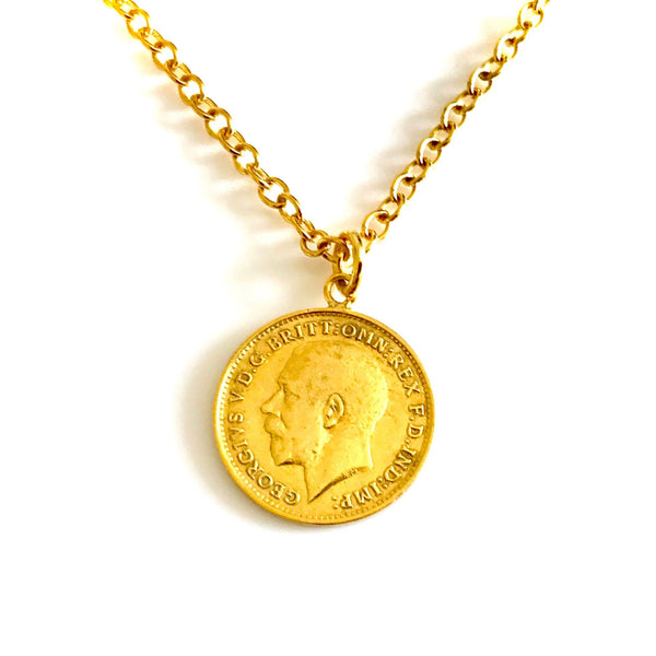 Vintage Coin Necklace 22ct Gold Plated Antique 1918 Pendant