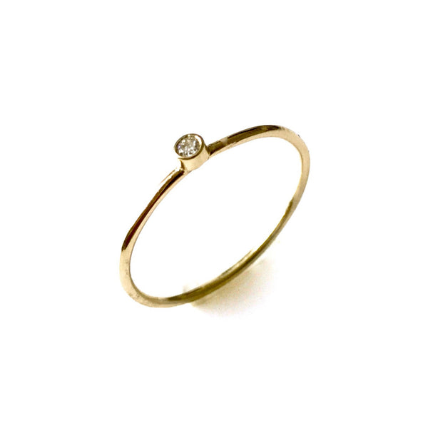 2mm Round Diamond  Set 1mm 9ct Yellow Gold Solitaire Ring