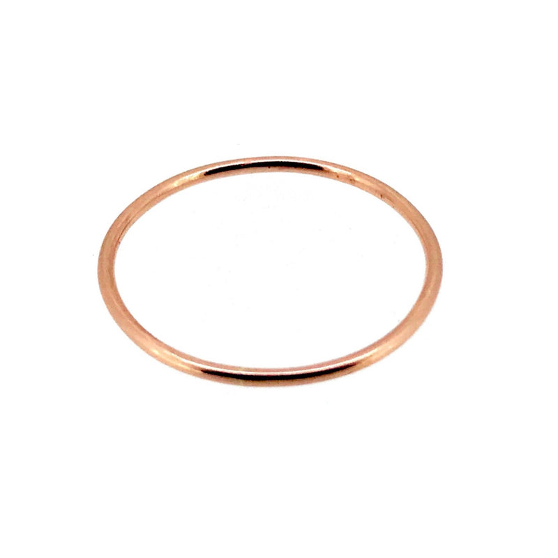 1mm Solid 9ct Red Rose Gold Slim Round Wedding Band or Skinny Stacking Ring