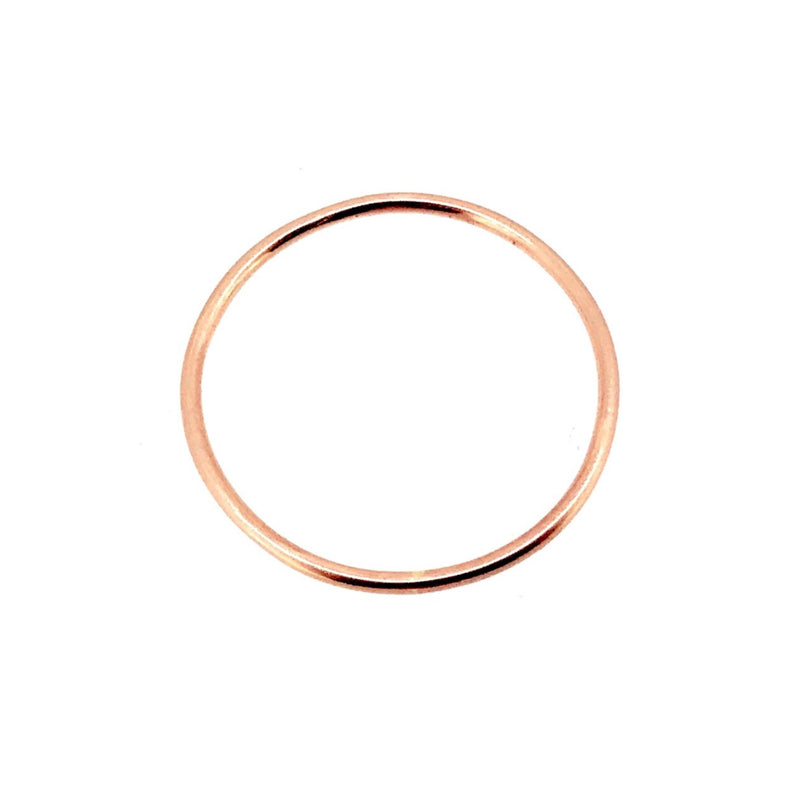 1mm Solid 18ct Red Rose Gold Slim Round Wedding Band or Stacking Ring