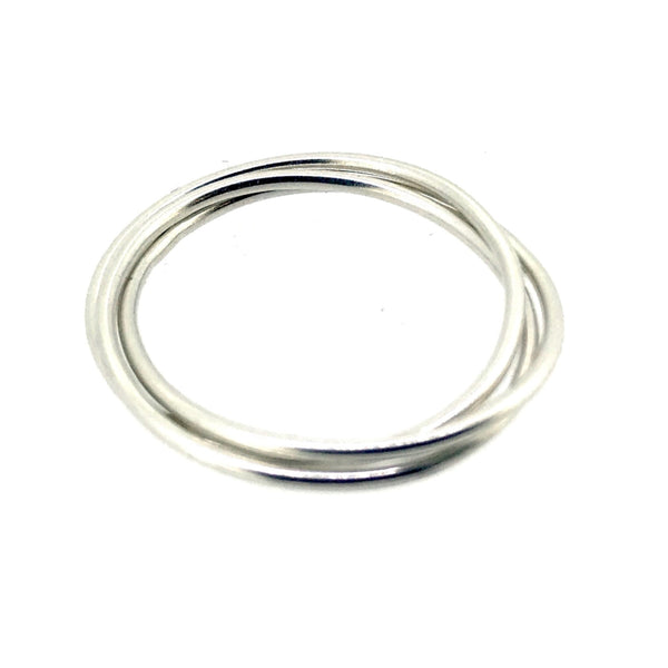 Russian Wedding Ring Sterling Silver 1mm Rolling Trinity Rings