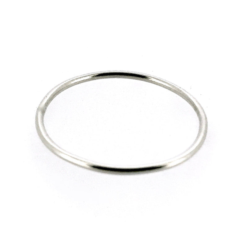 1mm Sterling Silver Skinny Round band Stacking Ring Polished Finish