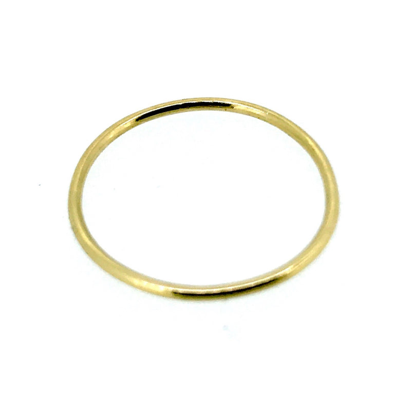 1mm Solid 18ct Yellow Gold Slim Round Wedding Band or Skinny Stacking Ring