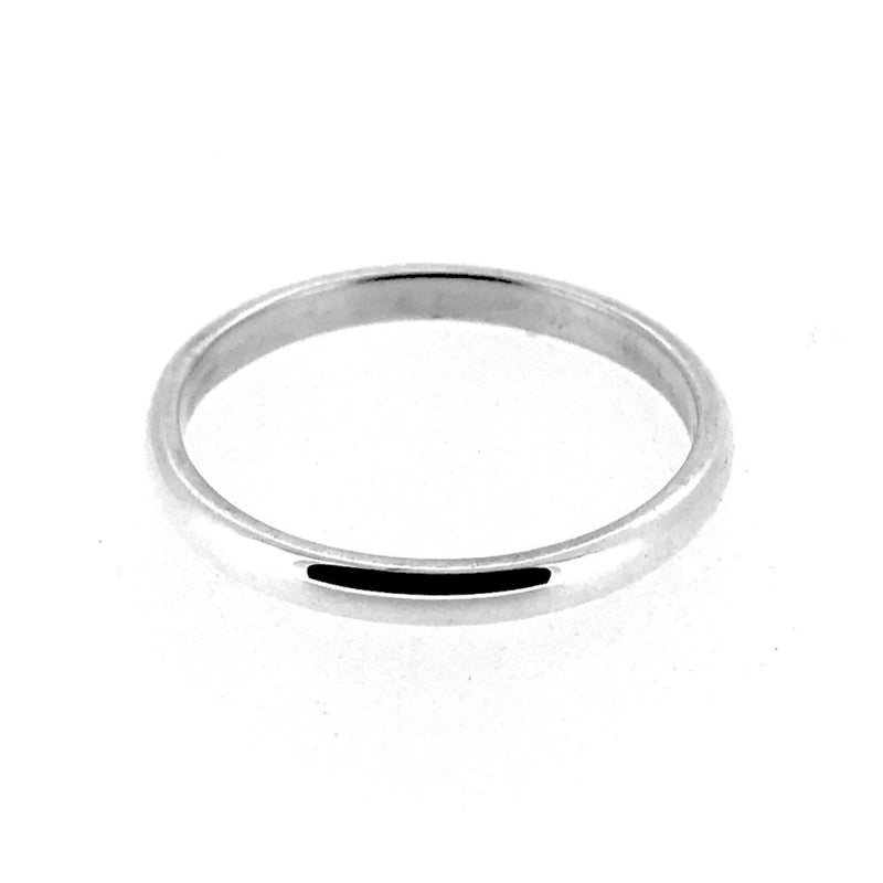 2mm Sterling Silver D Shaped Wedding Band Ring