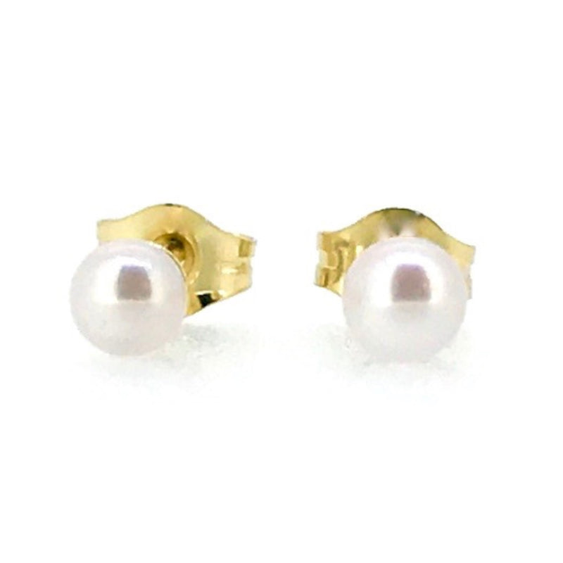 3mm Pearl Stud Earrings Round Akoya Pearls 18ct Yellow Gold