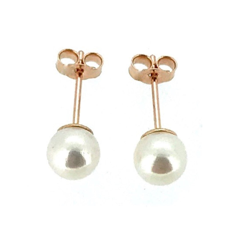 5mm Pearl Stud Earrings Round Akoya Pearls 9ct Red Rose Gold