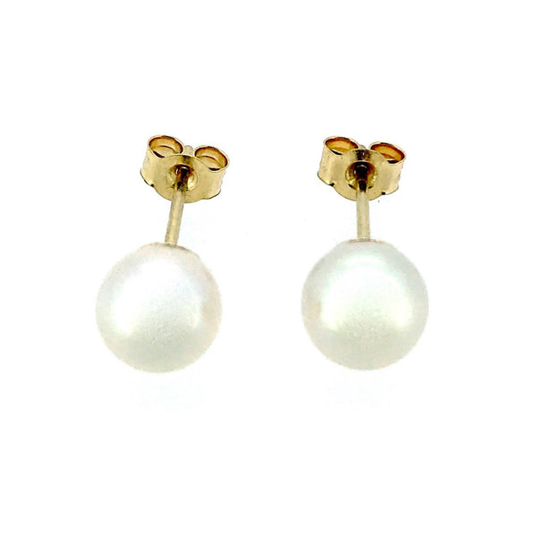 5mm Pearl Stud Earrings Round Akoya Pearls 9ct Yellow Gold