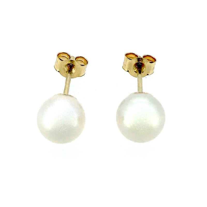 5mm Pearl Stud Earrings Round Akoya Pearls 18ct Yellow Gold