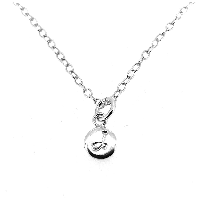 Initial J Necklace Tiny 6mm Personalised Letter Disc Pendant Sterling Silver Ballroom Font