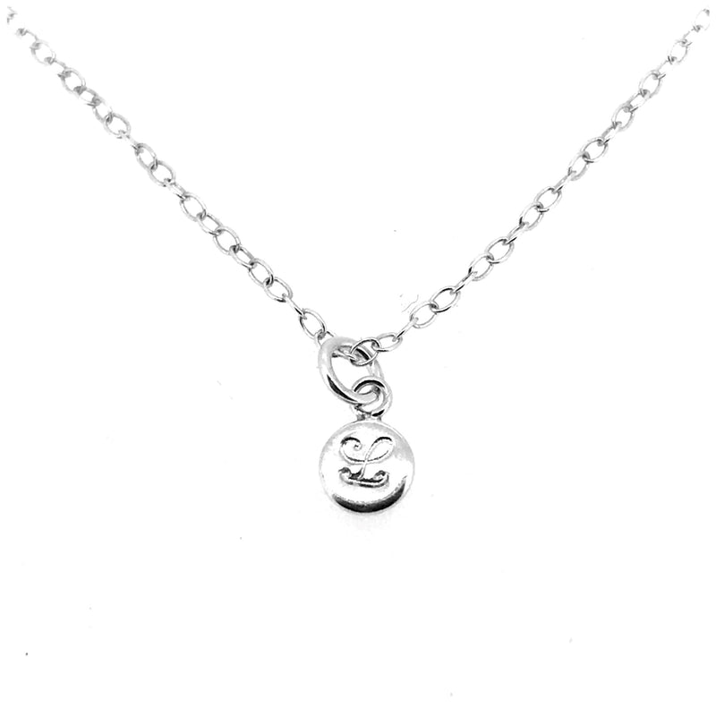 Initial L Necklace Tiny 6mm Personalised Letter Disc Pendant Sterling Silver Ballroom Font
