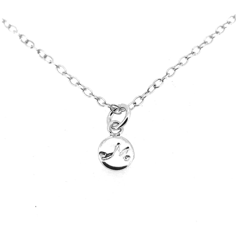 Initial M Necklace Tiny 6mm Personalised Letter Disc Pendant Sterling Silver Ballroom Font