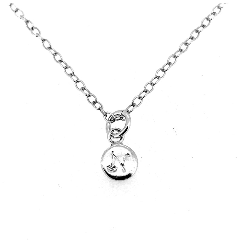 Initial N Necklace Tiny 6mm Personalised Letter Disc Pendant Sterling Silver Ballroom Font